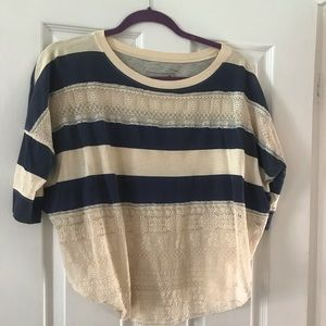 Free People striped and lace top